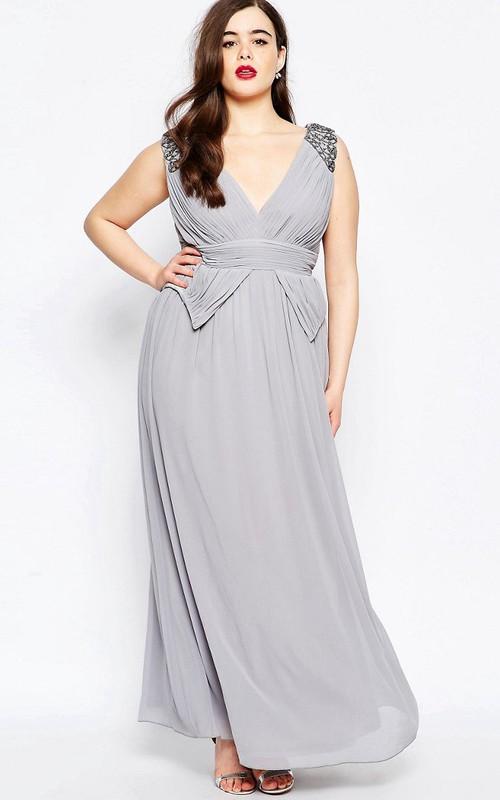 A-Line V-Neck Long Beaded Sleeveless Chiffon Bridesmaid Dress With Ruching
