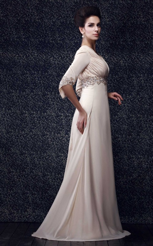 Long V-Back Design Beaded Plunged Gown