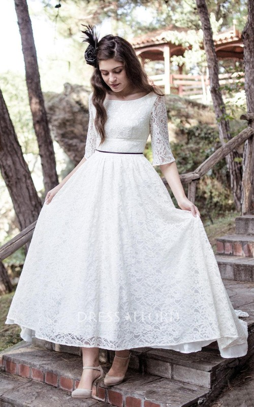 Lace Low-V Back Scoop-Neckline Tea-Length Gown