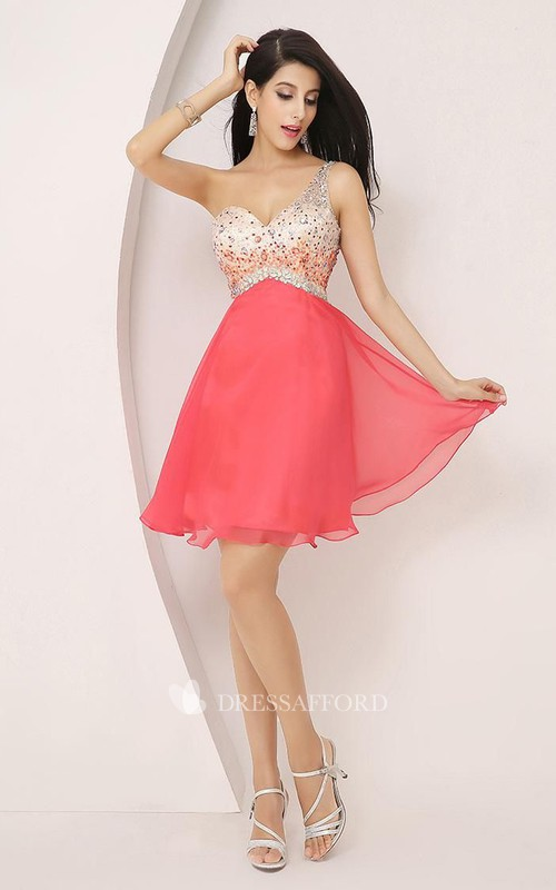 Sleeveless A-line Short Mini One-shoulder Beading Pleats Chiffon Homecoming Dress