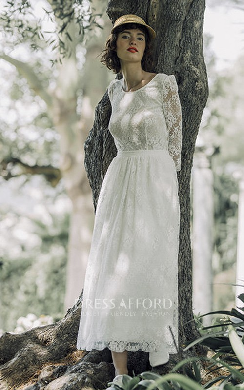 Vintage Lace Long Sleeve Tea-length Wedding Dress With Scoop Neck And V-back