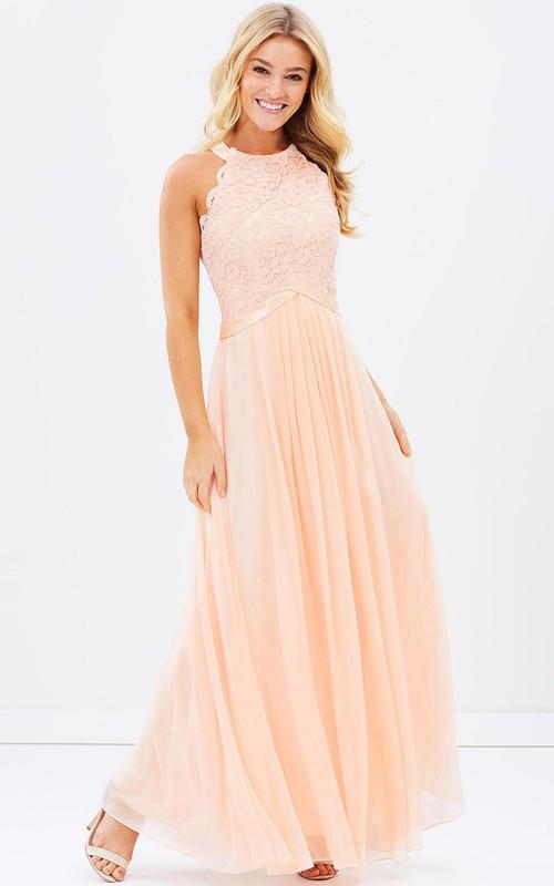 Jewel Neckline Sleeveless Chiffon Dress With Pleats And Appliques