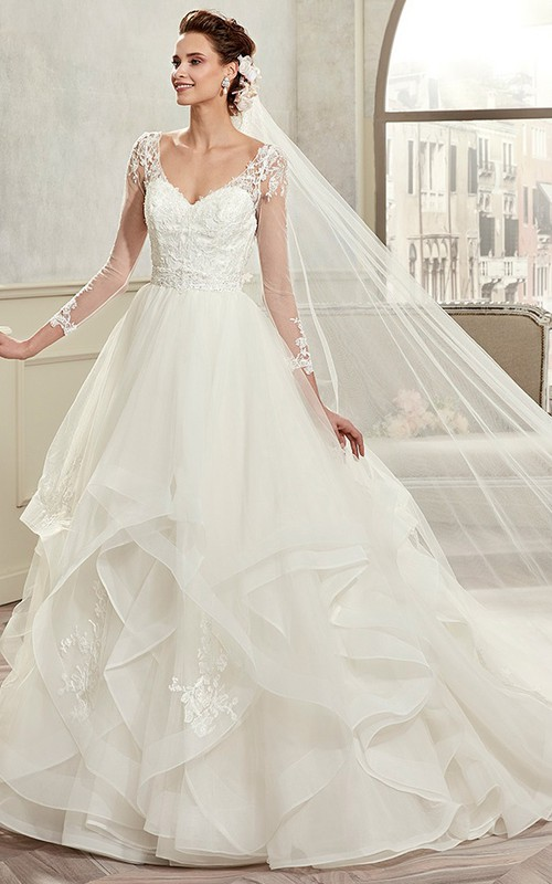 elegant Plunged Illusion Long Sleeve Organza Wedding Gown With Cascading Ruffles
