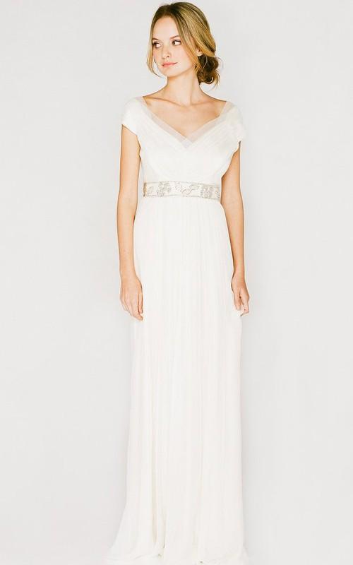 Sheath V-neck Pleated Dress With Low-V Back