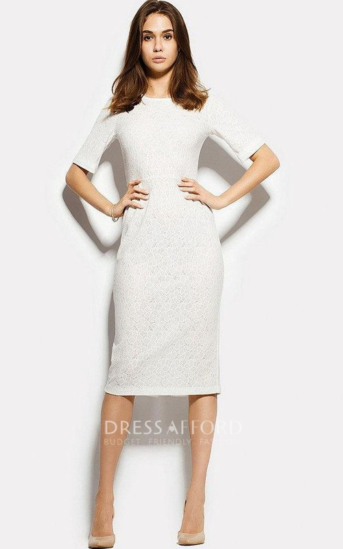 Bateau Lace Half Sleeve Knee-length Pencil Dress With Split Back