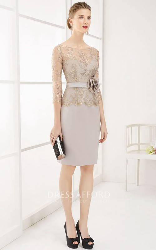 Bateau 3-4-sleeve Pencil short Dress With Lace And flower