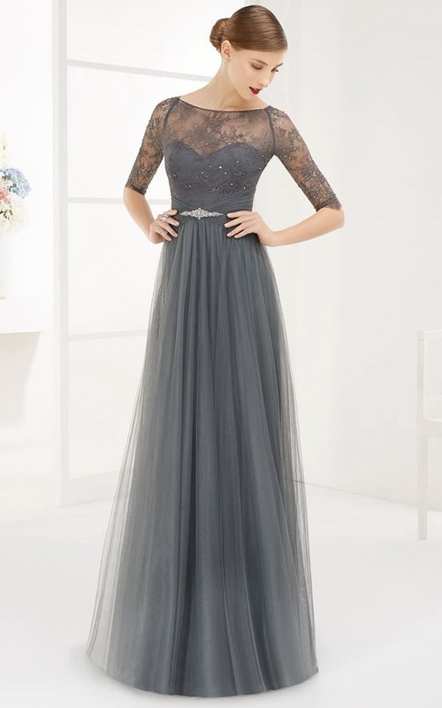 Bateau Half Sleeve Tulle Illusion Dress With Ruching And Beading
