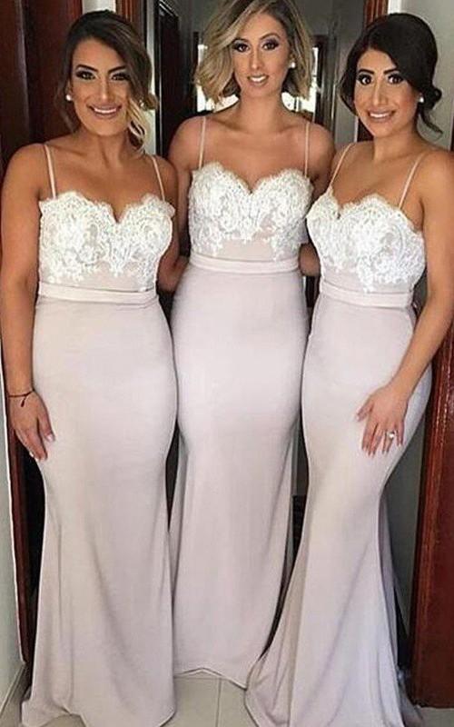 Spaghetti Sweetheart Taffeta Sleeveless Floor-length Bridesmaid Dress with Lace