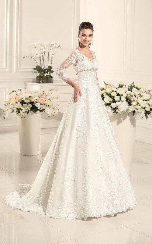 Long-Sleeve Satin Sweetheart A-Line Wedding Lace Dress