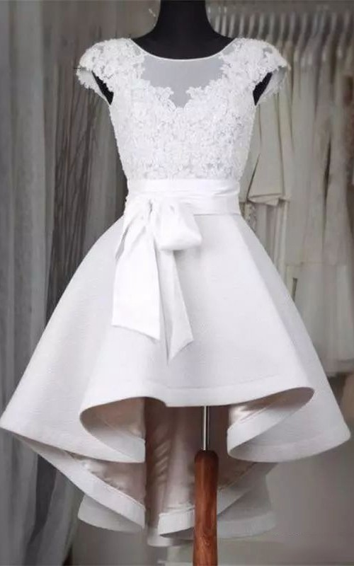 Short Sleeve A-line High-low Bateau Ruffles Sash Ribbon Satin Lace Homecoming Dress