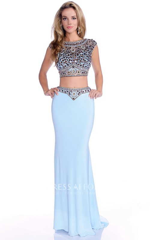 Column Jeweled-Bodice Cap-Sleeve Crop-Top Formal Jersey Dress
