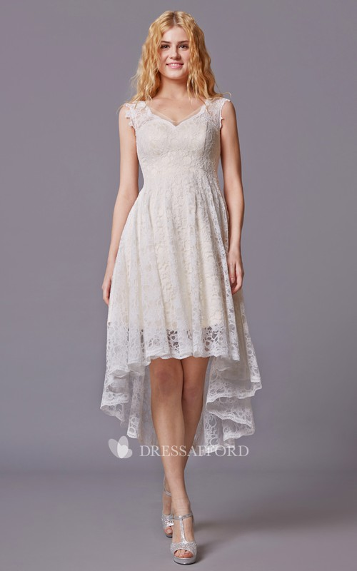 Lace V-Neckline High-Low Sleeveless Bridesmaid Dress