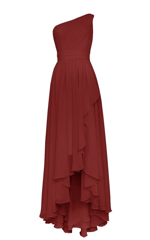 High-Low Draping Pleated Single-Shoulder Gown