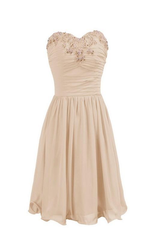 Sweetheart Chiffon short A-line Bridesmaid Dress With Beading