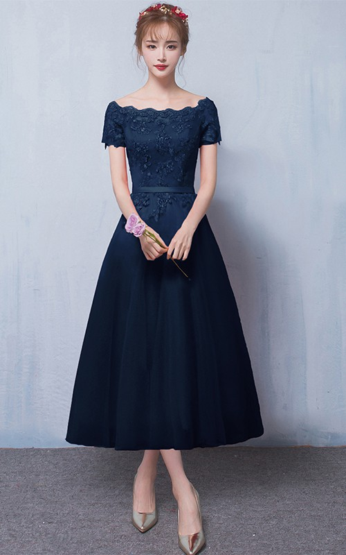Off-the-shoulder Satin Lace Tea-length Formal Dress With Appliques