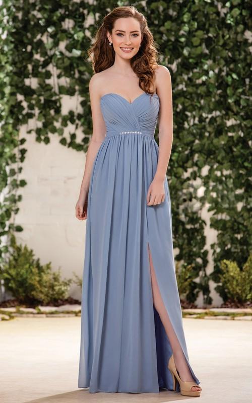 Sweetheart Criss cross Front-split Chiffon Dress With bow