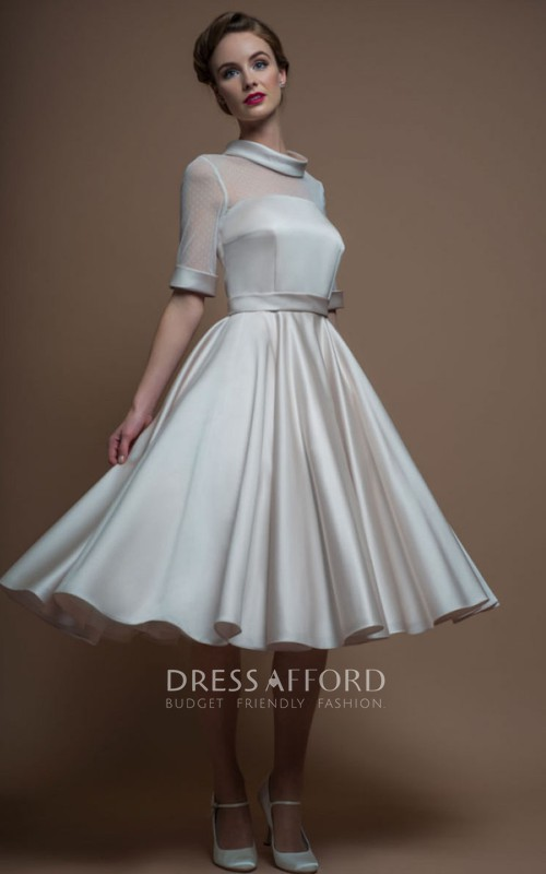 Half Sleeve Satin Knee-length Wedding Dress With Illusion top
