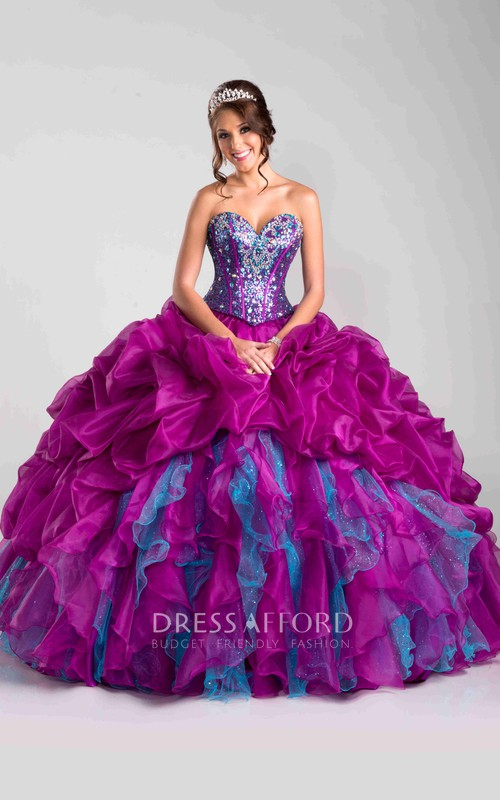 multicolor Sweetheart Beaded Ball Gown With Ruffles And Corset Back