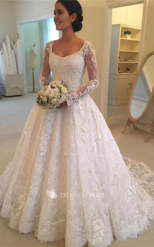 Elegant Lace Long Sleeve Ball Gown Wedding Dress with Cathedral Train