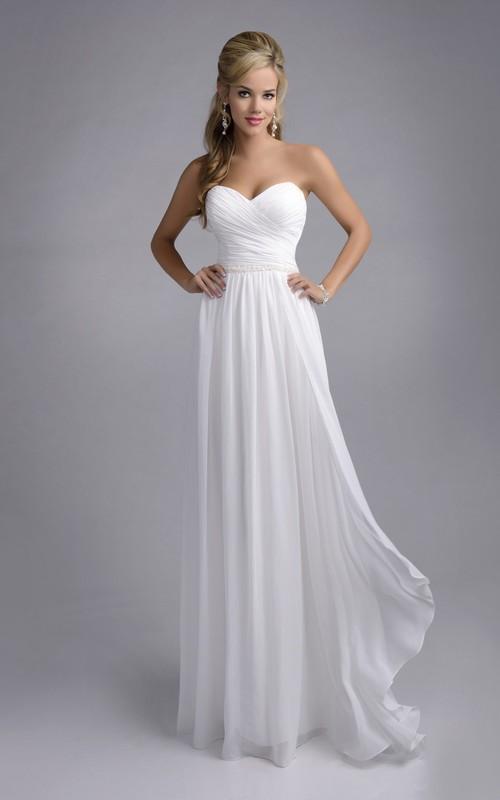 Crisscross Sweetheart Chiffon Wedding Dress With Ruching And Pleats