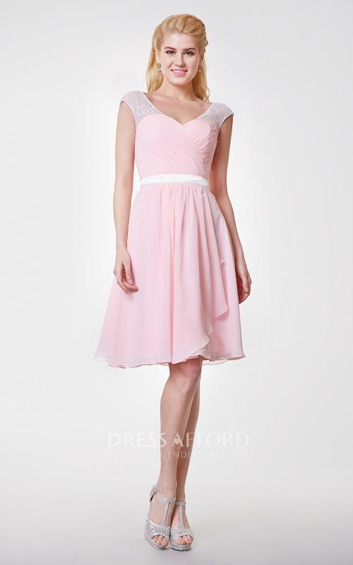 Lace Cap-sleeved A-line Knee Length Chiffon Dress
