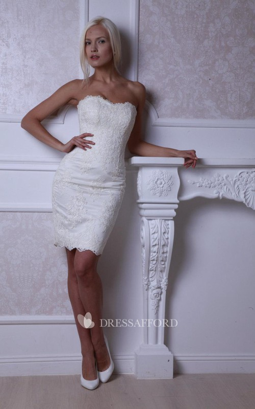 Lace Lace-Up Back Fitted Short Bridal Dress