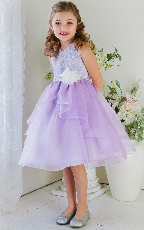 V-neck Sleeveless Tea-length Flower Girl Dress With Lace And Draping