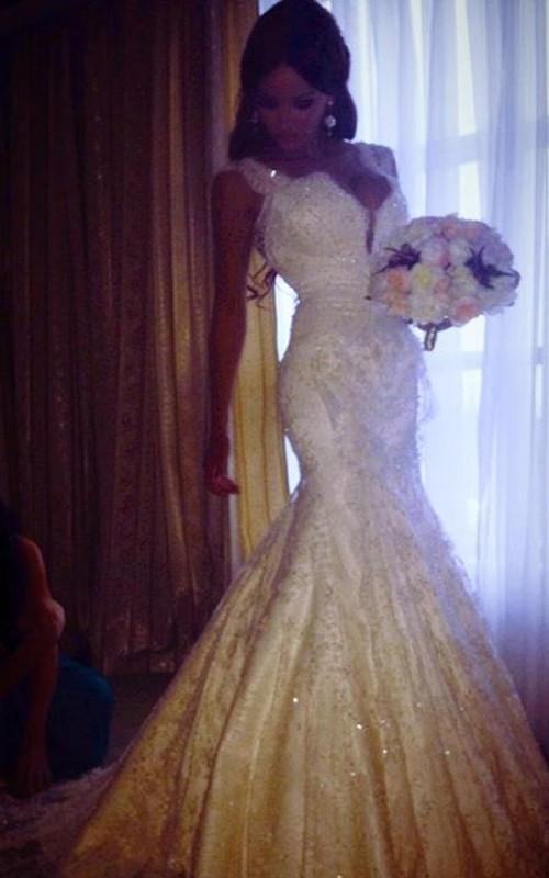 Stunning Straps Lace Mermaid Wedding Dresses 2018 Beadings Sequins