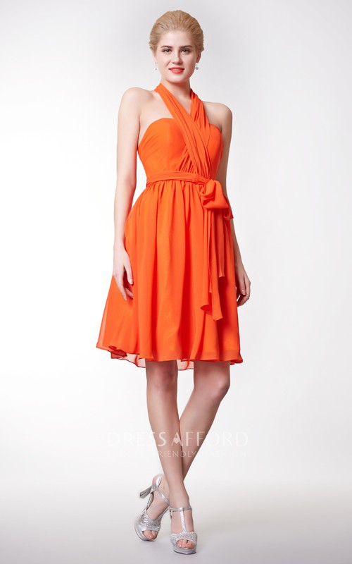 High-Waist Bow Chiffon Halter-Neckline Sassy Short Dress