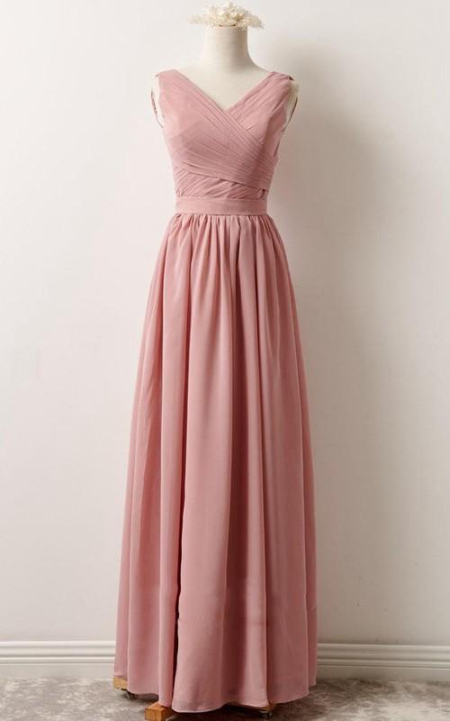 V-neck Sleeveless Chiffon Floor-length Bridesmaid Dress With Zipper back
