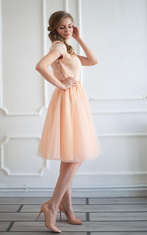 Bateau Short Sleeve A-line Tulle Dress With Lace top And Low-V Back