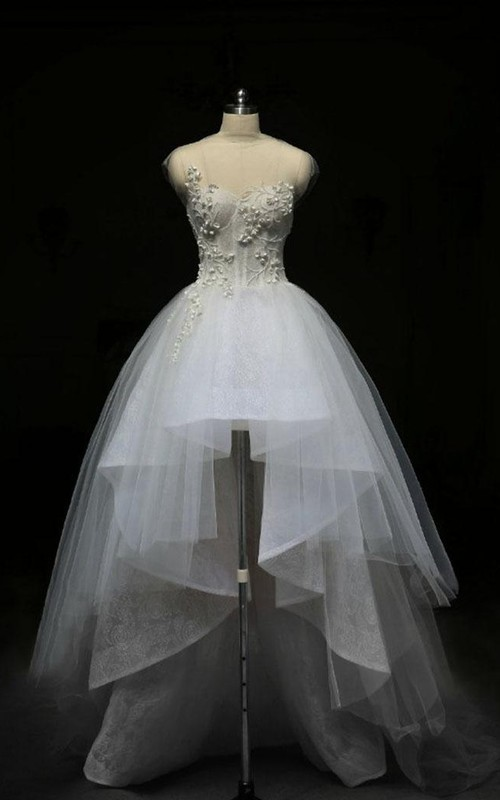 Bell Keyhole Lace High-Neckline Short Tulle Zipper Gown