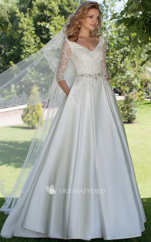 A-line Half Sleeve Satin Wedding Dress With Jeweled waist