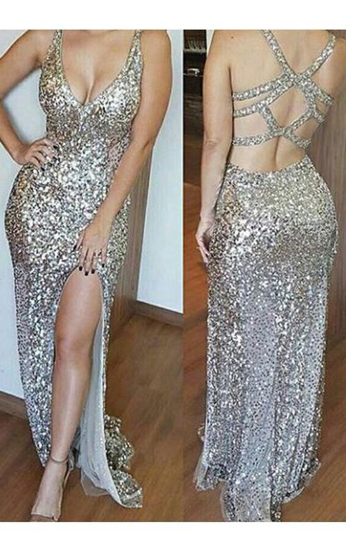 V-neck Sequins Sleeveless Floor-length Beading Pleats Split Front Dress