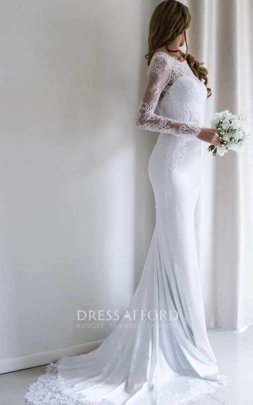 Bateau Lace Long Sleeve Sheath Chiffon Wedding Dress With Sweep Train