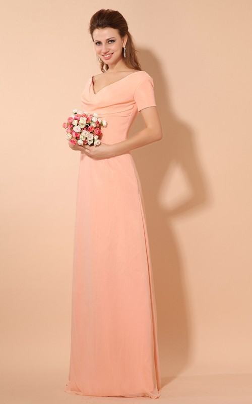 Floor-Length Pleated Short-Sleeve Plunged Chiffon V-Neckline Gown