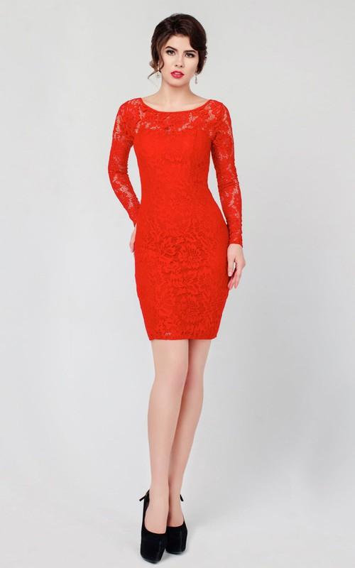 Sheath Short Mini Jewel Long Sleeve Lace Low V Back Dress