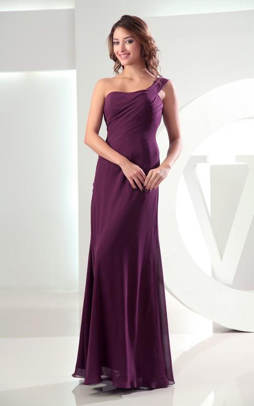Floor-Length Single Strap Sleeveless Simple Dress