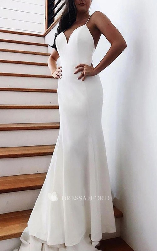 Simple Satin Mermaid Spaghetti Long Wedding Dress with Chapel Train