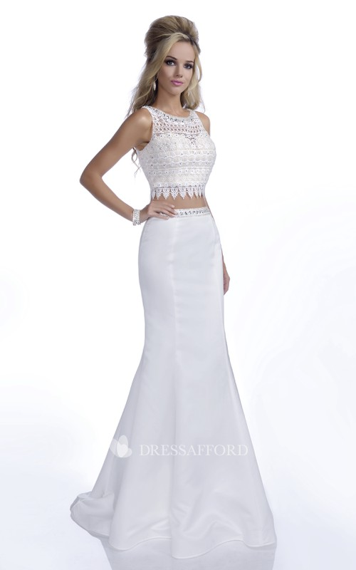 Sleeveless Mermaid Two Piece Prom Dress With Beading And Lace