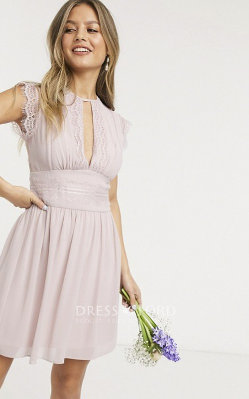 Cute Mini Skirt Cap Sleeve Chiffon And Lace Bridesmaid Dress With Keyhole Front And Illusion Back