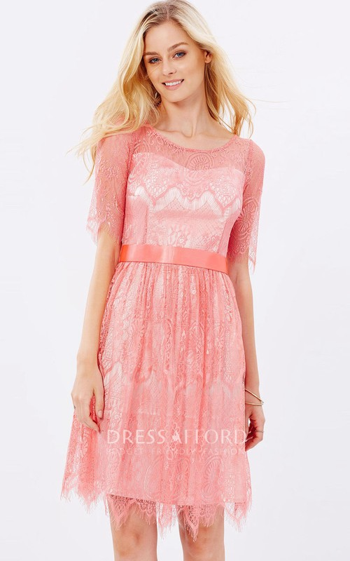 Scoop-neck Lace Short Sleeve Knee-length Dress With Pleats