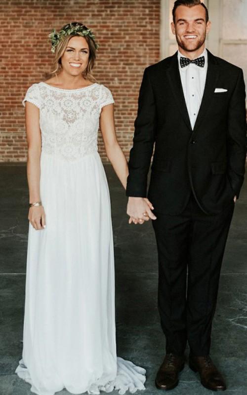 Bateau Chiffon Lace Short Sleeve Sweep Train Keyhole Sheath Wedding Dress