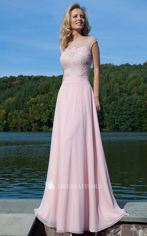 Cap-sleeve Chiffon Lace Dress With Keyhole back
