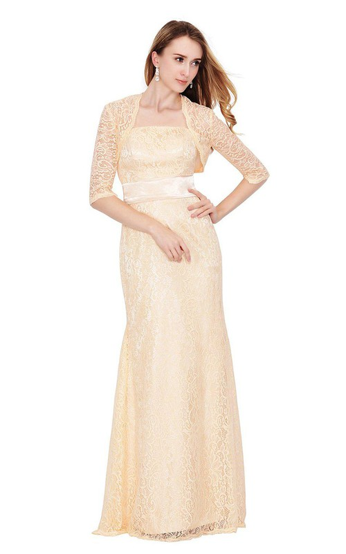 Lace Matching Jacket Floor-Length Sleeveless Strapless Long Dress
