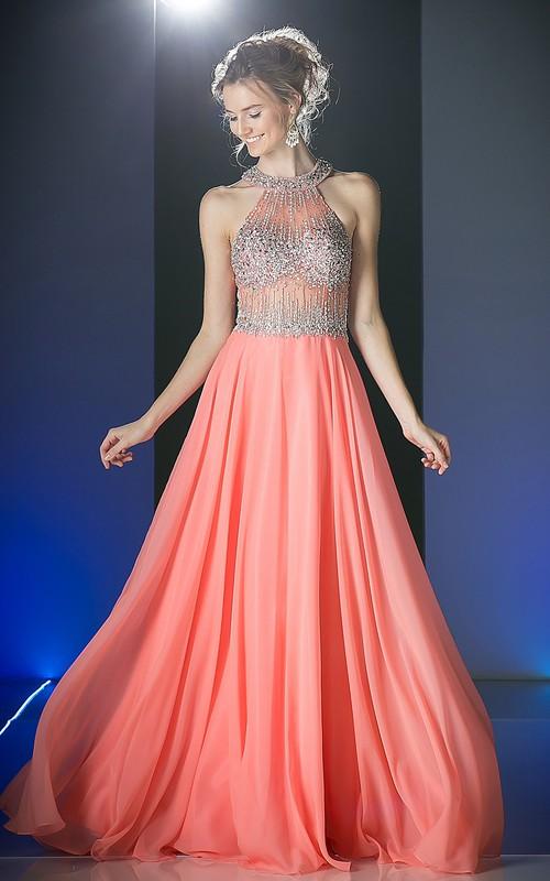 A-Line Pleated Jeweled Long Scoop-Neck Chiffon Sleeveless Illusion Dress