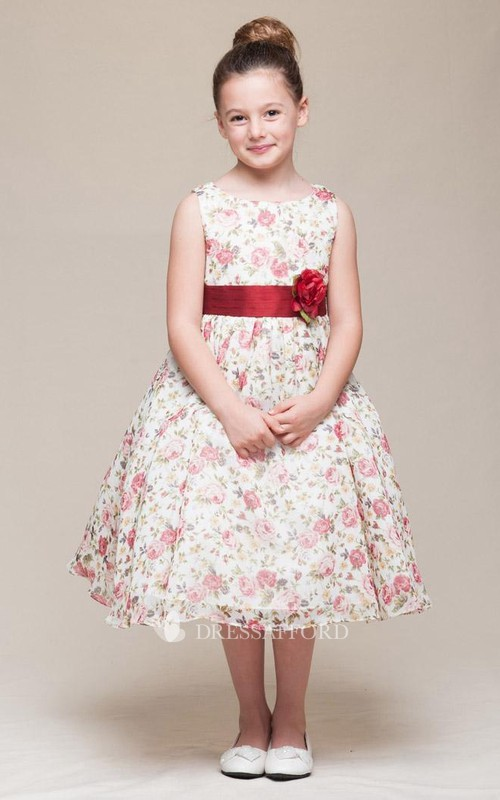 Chiffon Tiered 3-4-Length Satin Flower Girl Dress
