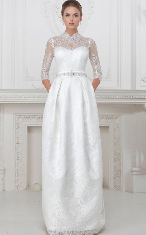 High Neck Lace Half Sleeve Wedding Dress With Corset Back And jeweled waist