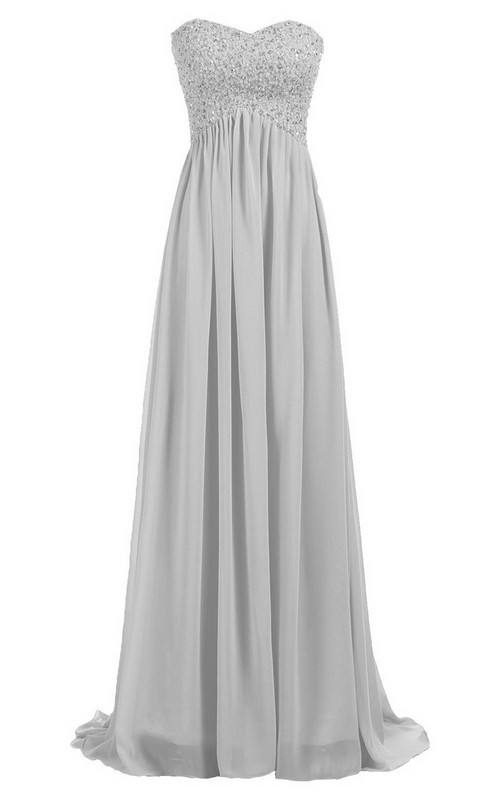 Empire Sequined Top Floor-Length Sleeveless Sweetheart Long Gown