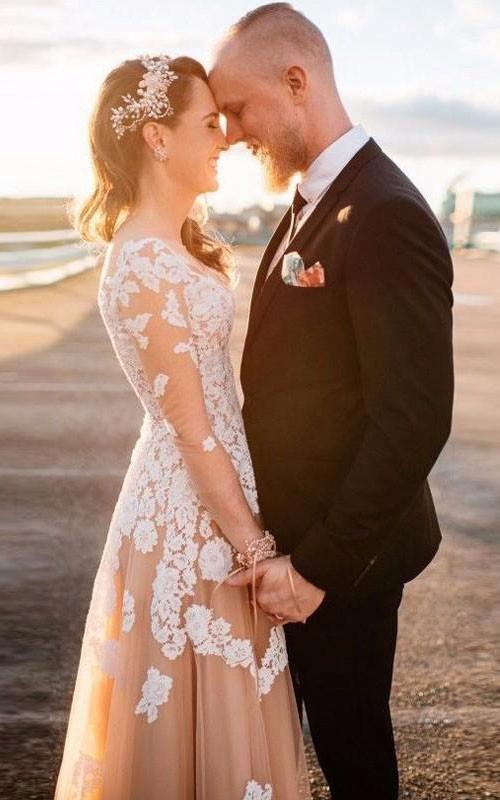 V-Neckline Lace A-Line Long-Sleeve Appliqued Long Gown